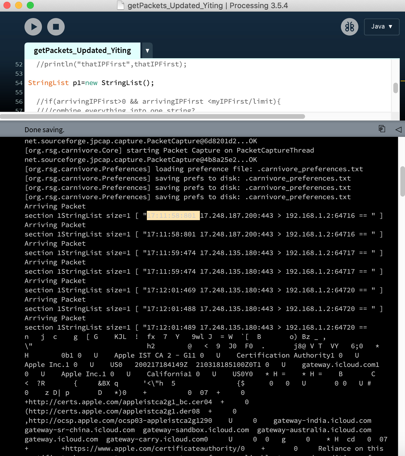 screenshot of processing getting packets from server using Carnivore library.