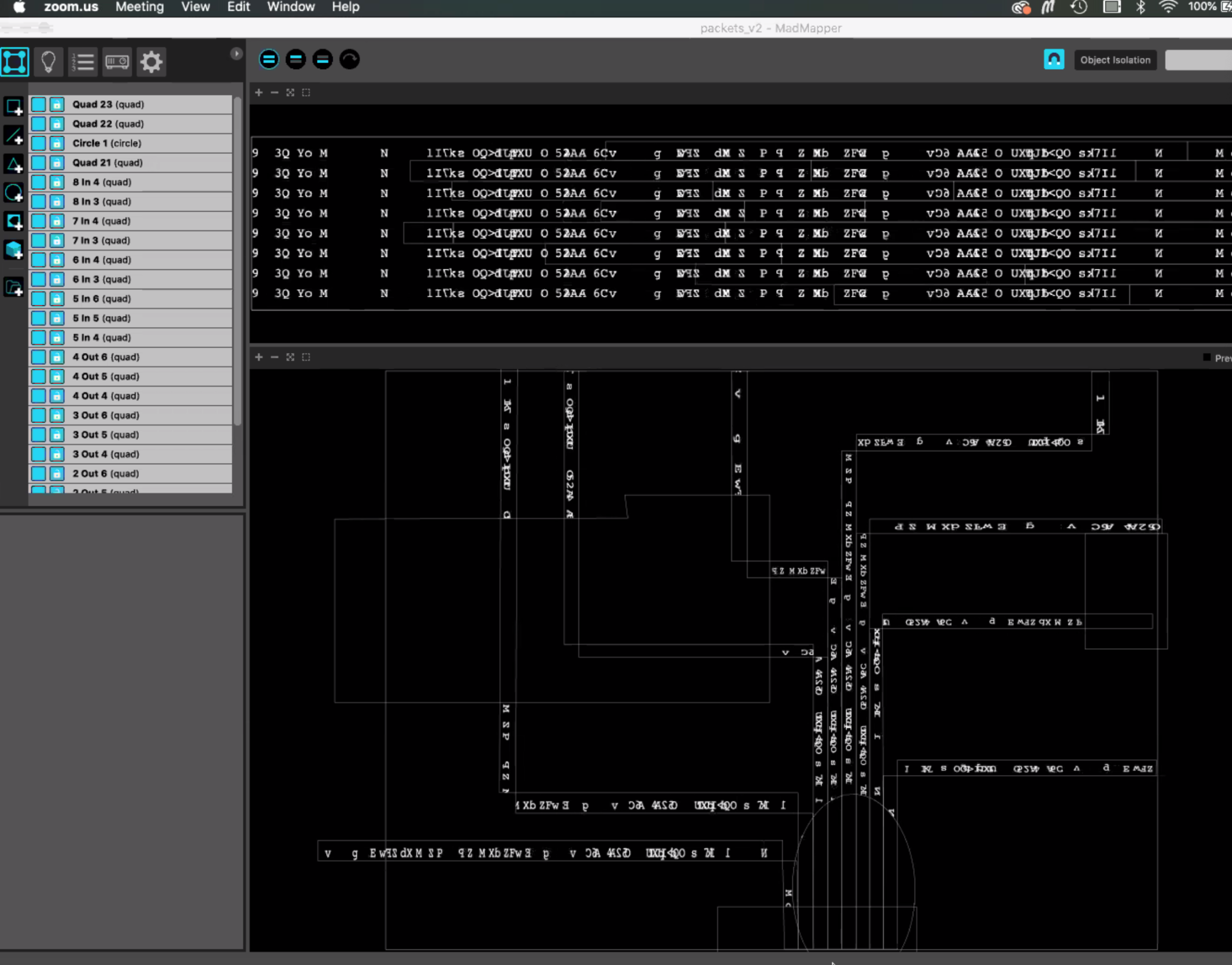 madmapper screenshot of mapped packet strings
